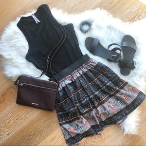 PEPPERMINT boho style black patterned skater skirt